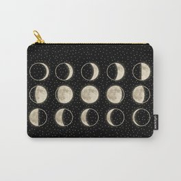shiny moon phases on black / with stars Carry-All Pouch