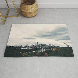 Edmonton Alberta, Digital Painting of a Very Cloudy Downtown just Before an Autumnal Storm Rug