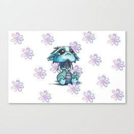 Baby Dragon with Flowers Canvas Print