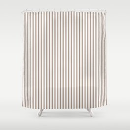 Mattress Ticking Narrow Striped Pattern in Chocolate Brown and White Shower Curtain