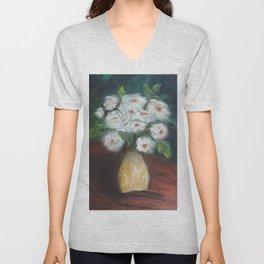 Flores brancas (White flowers) Unisex V-Neck