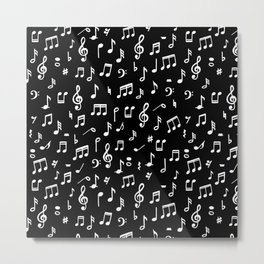 Music notes in black background Metal Print