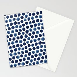 Large Indigo/Blue Watercolor Polka Dot Pattern Stationery Cards