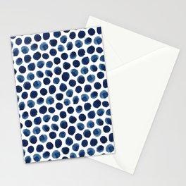 Large Indigo/Blue Watercolor Polka Dot Pattern Stationery Cards