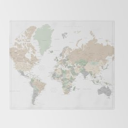 """World map with cities, """"Anouk"""" Throw Blanket"""