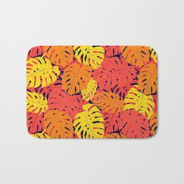 Modern tropical summer yellow orange red cheese leaves floral Bath Mat