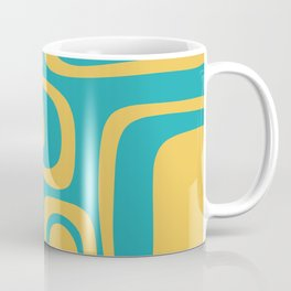 Palm Springs Mid Century Modern Abstract Pattern in Yellow and Turquoise Coffee Mug