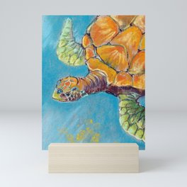 Water turtle in the ocean. pastel. Mini Art Print