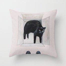 black cat box Throw Pillow