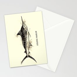 Striped Marlin Vintage Art for the Ocean Lovers and Extreme Anglers / Gifts for Fisherman Stationery Cards