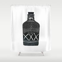 alcohol Shower Curtains featuring Alcohol Bottle xxx by matteolasi
