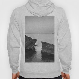 Serenity Sea. BW square. At Sunrise Morning Hoody