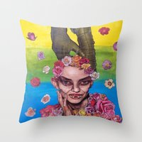 death cab for cutie Throw Pillows featuring cutie by madild