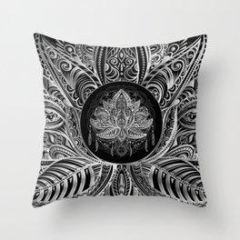 Lotus Flower Black & White Throw Pillow