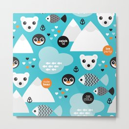 Cute winter wonderland penguin and white bear pattern Metal Print