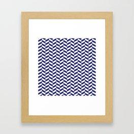 Navy Blue Herringbone Pattern Framed Art Print