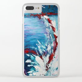 Emergence, abstract artwork, blue and white Clear iPhone Case