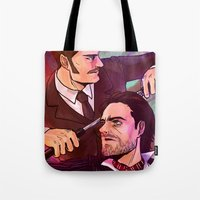 johnlock Tote Bags featuring Watson and Holmes by Krusca