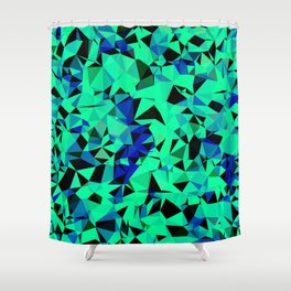 geometric triangle pattern abstract in green blue black Shower Curtain