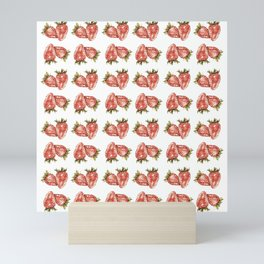 Watercolor Strawberry Pattern Mini Art Print