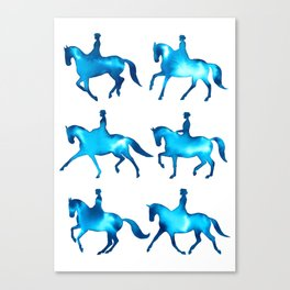 Turquoise Dressage Horse Silhouettes Canvas Print
