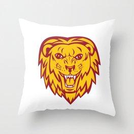 Angry Lion Big Cat Head Roar Throw Pillow