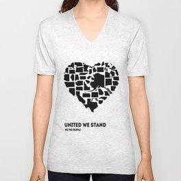 United We Stand - Black & White Unisex V-Neck
