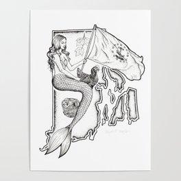 Rhode Island Mermaid Poster