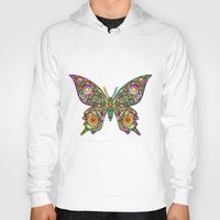 psychedelic art Hoodies featuring Butterfly Psychedelic Art Design by BluedarkArt
