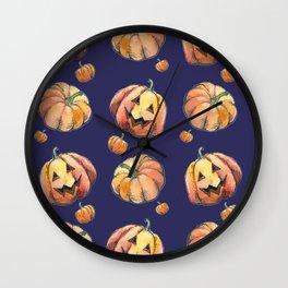 Violet pumpkins Wall Clock