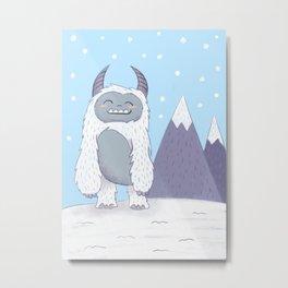 Yeti in the Mountains - Blue Metal Print