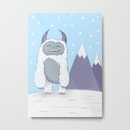 Yeti in the Mountains - Blue Metal Print