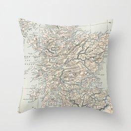 Vintage Map of Scotland (1893) Throw Pillow
