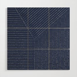 Lines / Navy Wood Wall Art