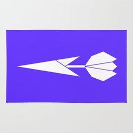 Origami Flower (white + blue) Rug