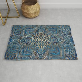 Flower of Life in Lotus Mandala - Blue Marble and Gold Rug