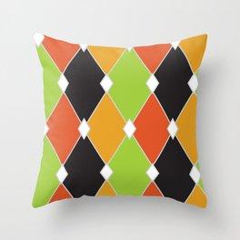 Orange, green and black jester diamonds Throw Pillow
