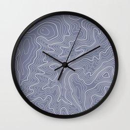 Blue Topo Line Design Wall Clock
