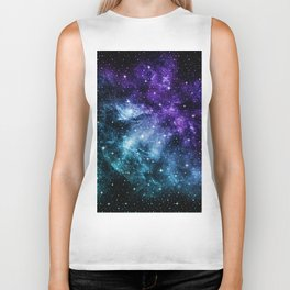 Purple Teal Galaxy Nebula Dream #1 #decor #art #society6 Biker Tank
