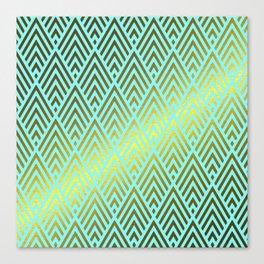 Gold foil triangles on aqua Canvas Print