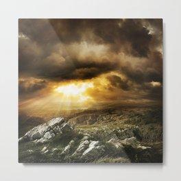 Amazing Sunset & Mountain View Landscape Metal Print