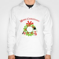 cartoons Hoodies featuring Festive Christmas Cartoons on Chevron Pattern by Kirsten Star