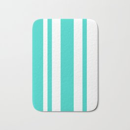 Mixed Vertical Stripes - White and Turquoise Bath Mat