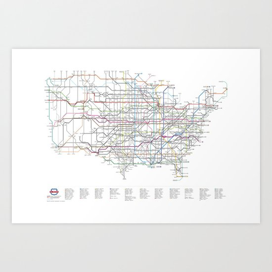 U.S. Numbered Highways as a Subway Map Art Print