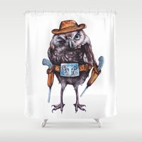 cowboy Shower Curtains featuring cowboy owl by Кaterina Кalinich