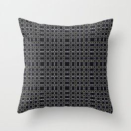 Black with White Stitching Tiled Pattern Throw Pillow