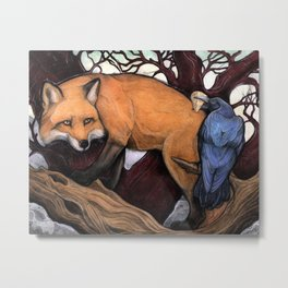 Fox and the Crow Metal Print