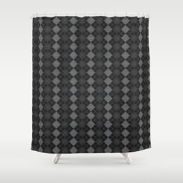 Gray Checkered Knitted Weaving Shower Curtain