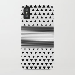 Stripes and Triangles Geometric Modern Black and White iPhone Case