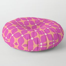 Mid Century Modern Star Pattern 143 Magenta and Orange Floor Pillow
